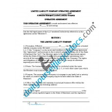 Limited Liability Company Operating Agreement (Member Managed) - Maryland